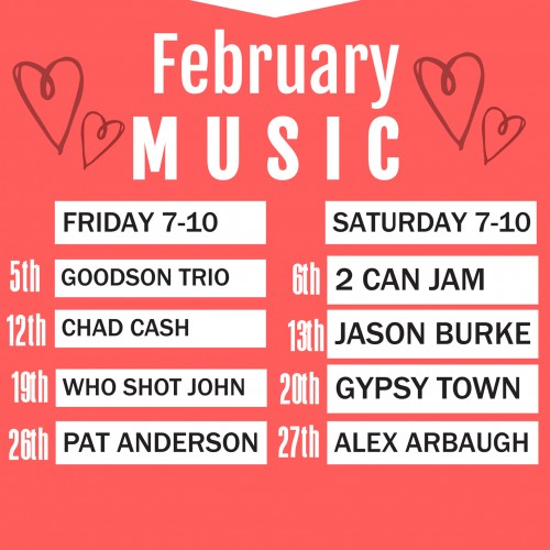 Live Music in February at E&J's Deli Pub